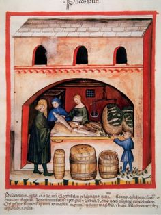 #Tacuinum Sanitatis, Medieval Health Handbook, dated before 1400, based on observations of medical order detailing the most important aspects of food, beverages and clothing, Saltwater fishing, Miniature, Fol, 82 v (Photo by Prisma/UIG/Getty Images)