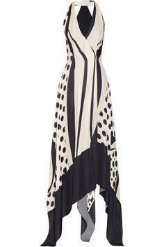 Donna Karan|Printed silk halterneck gown|NET-A-PORTER.COM