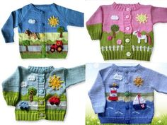 Baby Knitting Patterns Sweaters In the austerity package with knitting instructions you will find the instructions for 4 different … Kids Knitting Patterns, Baby Sweater Knitting Pattern, Knitting For Kids, Crochet For Kids, Knitting Designs, Crochet Baby, Knit Crochet, Knitted Baby Outfits, Cool Baby Clothes