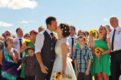 Beth and Brett: Carnival themed Wedding- Creative DIY touches, fun-filled activities and bright cheerful sunflowers - what a seriously fun way to celebrate your big day. Fantail Photography www.trulyandmadly.com #wedding #carnival #bright #beautiful #DIY