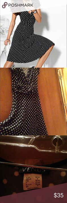 Polka Dot Dress SoOo adorable and comfortable with ruched waist! Reminds me of something worn by Lucille Ball! From pet free and smoke free home. Try accessorizing with red or pink shoes, bag and jewelry!  Great addition to your wardrobe; great for the office or a party! Dresses Midi