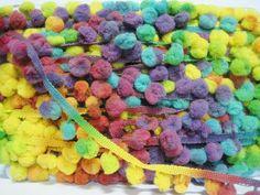 5 Yards Multicolored Pom Pom Trim purple pom pom by ichimylove, $6.50