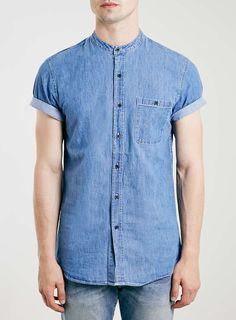 Blue Stonewash Stand Collar Shirt