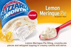 Blizzard of the Month is a new Lemon Meringue Pie flavor, which combines lemon meringue pie filling with crunchy pie pieces and vanilla . Dairy Free Appetizers, Dairy Free Treats, Dairy Free Recipes, Ice Cream Desserts, Frozen Desserts, Frozen Treats, Dairy Queen Blizzard, Dq Blizzard, Pie Flavors