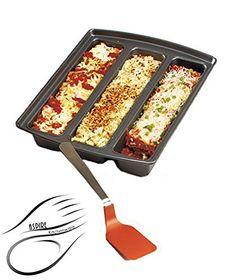 Aspire Lasagna Pan Deep With Spatula Nonstick Divided Three