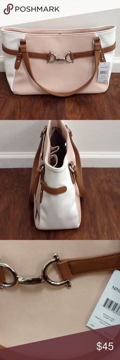 Brand new Nine West bag Brand new with tags. Very unique and rare bag. Soft pink and white color faux leather with saddle brown strap and detailing. Tan colored fabric lining with zip pocket, 2 interior pockets and magnetic top closure. Silver hardware and front logo plate. Nine West Bags Shoulder Bags