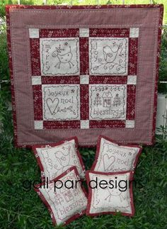 Embroidered Christmas Quilt and pillows