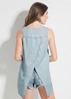 Blusa (Jeans) Colcci sem Mangas