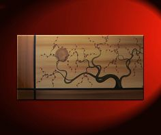 Abstract Tree Painting Large Earth Tones Brown Copper Gold Tan with Burgundy Blossoms Elegant Art 48x24 Mails Quickly. $275.00, via Etsy.