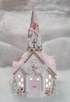 Shabby Chic lighted Christmas Village Church.