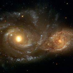 Dos galaxias espirales, en la dirección de la constelación de Canis Mayor