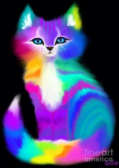 Colorful Striped Rainbow Cat Painting
