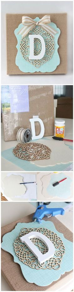 DIY Layered Burlap Monogram. This layered burlap monogram adorns a wall, table or shelf in any room; teens can make their own to add a touch of style to their own room decor.