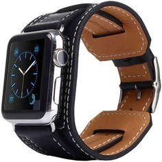 Kakapi Genuine Leather Cuff Bracelet - Apple Watch 42mm (Black)