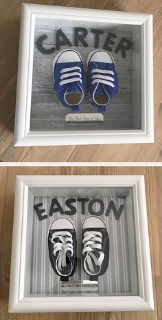 first pair of baby shoes framed quite happy with the end result . #carter #easton #shadowbox #babyconverse #keepsake