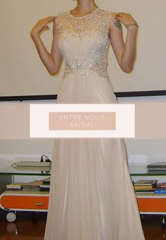 Ivory /  Cream Lace Sequin Rhinestone Chiffon by EntreNousBridal, $319.00