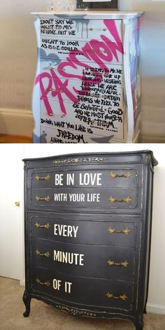 Upstyle Dresser with Quotes | 24 DIY Teenage Girl Bedroom Decorating Ideas