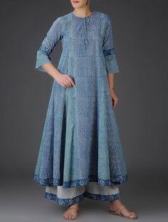 Buy Indigo-Green Block-Printed Kalidar Cotton Kurta Online at Jaypore.com