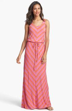 Caslon® Mitered Stripe Maxi Dress in Pink Surprise / Orange Stripe available at #Nordstrom
