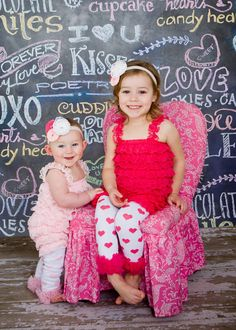 Adorable sister photo in fun lace rompers!