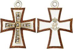 Dannebrog-Orden [Dannebrog-Ordenen]. 2. Modell (1808–1861/64), 2. Ausgabe (mit Monogramm König Christians VIII., hier auf dem Revers – 1839–1848), Kleinod zum Großkreuz [Storkorstegn] (!), 58,0 x 42,3 mm, Gold emailliert, besetzt mit 14 geschliffenen