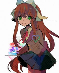 Japanese/ do not use my works without my permission Oki Doki, Psychological Horror, Cute Games, Literature Club, Best Waifu, Anime Characters, Fictional Characters, Indie Games, Pretty Art