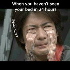 sooo tired, i miss you bed... : : : : : : #jollynurse #nursesofinstagram #nursesofig #nursejokes #healthcarehumor #medicalhumor #rnlife #juniordoctor #medstudent #medschoollife #nursinghumor #nurseslife #nursesrock #cnalife