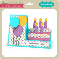 Side step card in a birthday cake themeThis fun side step card features a layered cake! It includes a print + cut sweet birthday wishes sentiment.Silhouette Design Store - New DesignsFolds flat to fit into an envelope. CAMEO and Portrait compatible. Happy Birthday, Birthday Wishes, Birthday Cards, Balloon Birthday, Fun Fold Cards, Folded Cards, Cards Diy, Side Step Card, Tarjetas Pop Up
