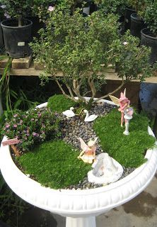 Fairy Garden in a birdbath planter - I really like the shape of the tree in the background, very well trimmed/shaped! +++++++++++++++++  GossamerCreations #fairy #garden