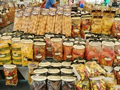 An array of pasta in a farmer's market in Rome, Italy.