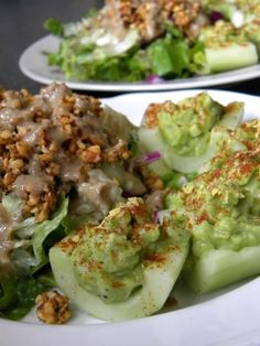 raw vegan deviled cucumbers- this website is SO COOL! So many raw vegan recipes. Raw Vegan Recipes, Vegan Foods, Vegan Dishes, Vegan Vegetarian, Vegetarian Recipes, Healthy Recipes, Veggie Recipes, Paleo, Whole Food Recipes