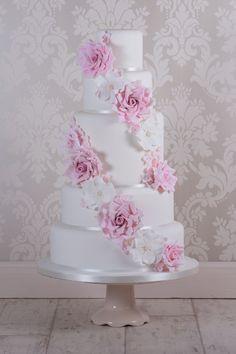 Cascading rose wedding cake - A 6 tier cascading rose wedding cake.