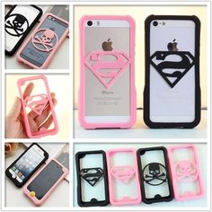 New arrival fashion 3d cute superman case soft silicone bumper protective frame cover for iPhone 5 5s 6 6s 4.7 5.5 inch plus