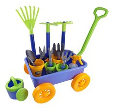 Garden Wagon & Tools Toy Set for Kids with 8 Gardening Tools, 4 Pots, Water Pail and Spray - Great for Beach & Sand Too! Fun and colorful garden wagon Rack Bike, Water Pail, Sensory Activities For Preschoolers, Garden Wagon, Garden Tool Set, Garden Ideas, Diy Garden, Home Vegetable Garden, Organic Gardening