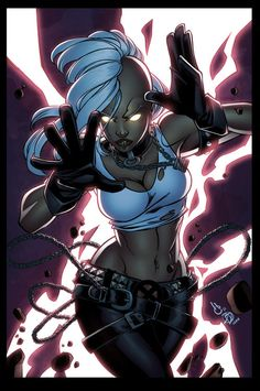 Punk Storm by ~lummage- .Ororro Munroe-Code Name: Storm - Mutant Abilities: Weather manipulation, Energy perception, Ecological empathy, Resistance to the effects of the weather and extreme temperatures.