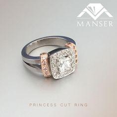 White and rose gold princess cut diamond engagement ring Princess Cut Rings, Princess Cut Diamonds, Diamond Engagement Rings, White Gold, Wedding Rings, Rose Gold, Jewels, Jewerly, Gemstones
