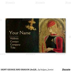 SAINT GEORGE AND DRAGON ,Red,Black,Gold Metallic Double-Sided Standard Business Cards (Pack Of 100)