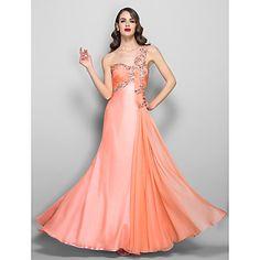 A-line/Princess One Shoulder Floor-length Chiffon Evening/Prom Dress – USD $ 117.99