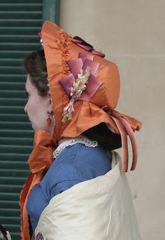 Adventures of a Costumer: 1860s Blue Wool Dress and orange bonnet