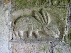 rabbit carving at Elmley Castle Church, England Romanesque Sculpture, Nice Buns, Rabbit Tattoos, White Rabbits, Bunny Art, Old Churches, 1920s Art Deco, Green Man, Stone Carving