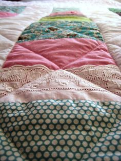 Quilted with lace. So pretty!