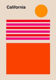 California Print Wall Art Decor california poster Travel Poster Vintage Los Angeles geometric print minimalist poster california art ALL ABOUT NEXT Graphic Design Posters, Graphic Design Illustration, Graphic Design Inspiration, Geometric Graphic Design, Graphic Art Prints, Geometric Poster, Geometric Art, Display Design, Pintura Industrial