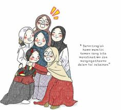 Find ourselves brothers and sisters in the way of Allah, because they are in the Hereafter . Quotes Sahabat, Cartoon Quotes, Quran Quotes, Muslim Quotes, Religious Quotes, Friend Cartoon, Islamic Cartoon, Anime Muslim, Hijab Cartoon