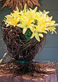 Galhos flexíveis entrelaçados formam a base ideal para o charmoso arranjo de lírios amarelos.