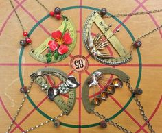 Necklaces made with old metal protractors, just a few of the #upcycled jewelry items Mei-Ling #Uliasz makes. #necklace #protractor