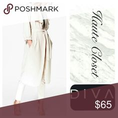 Waterfall Duster Wrap waist waterfall duster with pockets; stone colored. Beautiful, ultra feminine. Flowy, poly elastane blend. Feels like a jersey, has great fit and flow! New Arrival. Measurements coming soon. Jackets & Coats