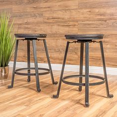 Gaten Black with Yellow Firwood Counter Stool