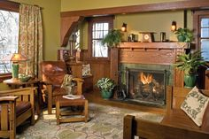 The Voysey-design carpet is his  'Magnolia' pattern; settle and armchairs are from Warren Hile.