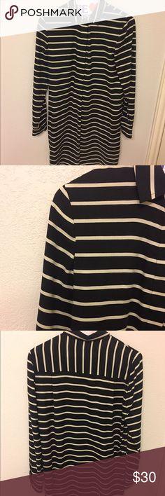 Black & Cream Silk Shirt Dress Black & Cream Silk half button down shirt dress. J. Crew Dresses Long Sleeve