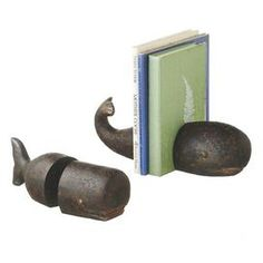 """Lend a touch of nautical flair to your etagere or mantel with this delightful bookend, showcasing a whale-inspired silhouette and vintaged brown finish.  Product: BookendConstruction Material: Resin Color: BrownFeatures: Whale-inspired silhouetteDimensions: 3.35"""" H x 3"""" W x 8.66"""" D"""